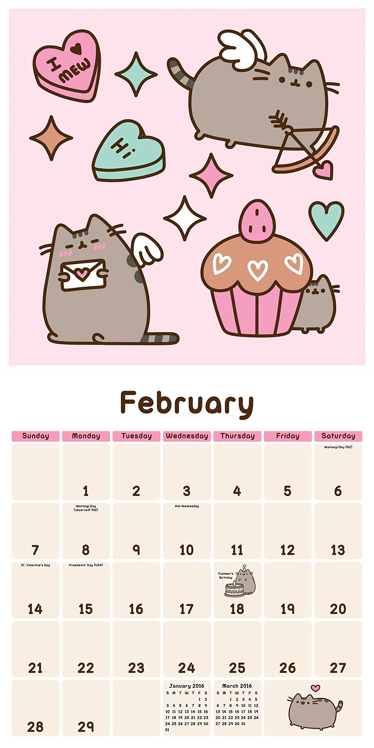 Awesome Pusheen The Cat 2016 Wall Calendar: Claire Belton: 0050837347472:  Amazon.com: Books