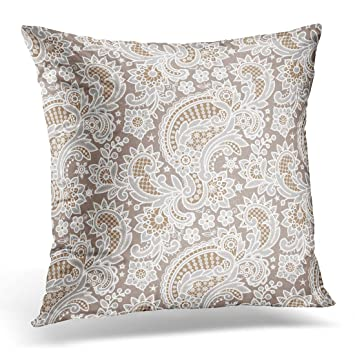 Amazon Golee Throw Pillow Cover Brocade White Lace Floral Beige Impressive Brocade Home Decor Decoration
