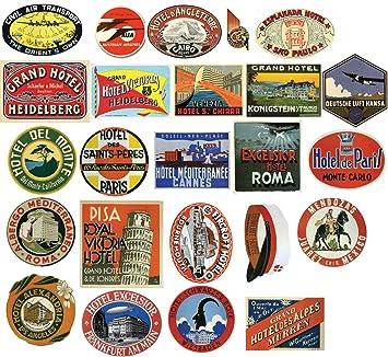 Vintage Hotel equipaje etiqueta pegatinas - Paquete de 24 - Maleta de viaje PVC pegatinas por ONEKOOL: Amazon.es: Jardín