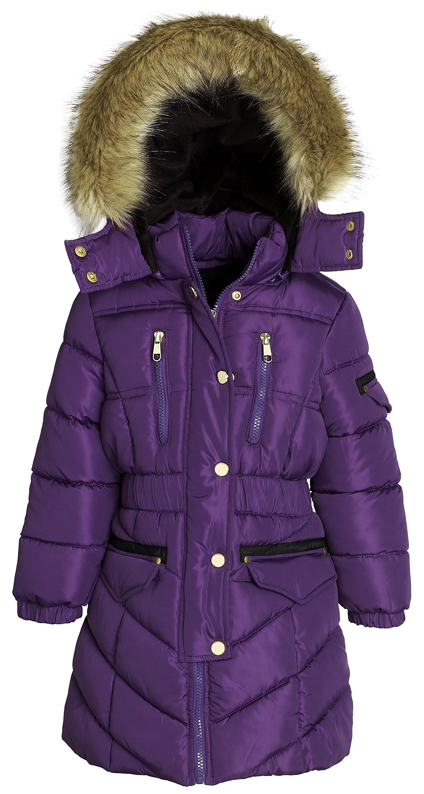 Sportoli Girls' Winter Heavy Quilt Padded Puffer Jacket Plush Lined Hooded Coat (Purple, 14/16)