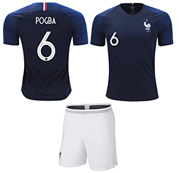 huge discount 6c4bb 23847 Pogba #6 France Soccer Jersey Youth World Cup Home Short Sleeve with Shorts  Kit Kids Soccer Set
