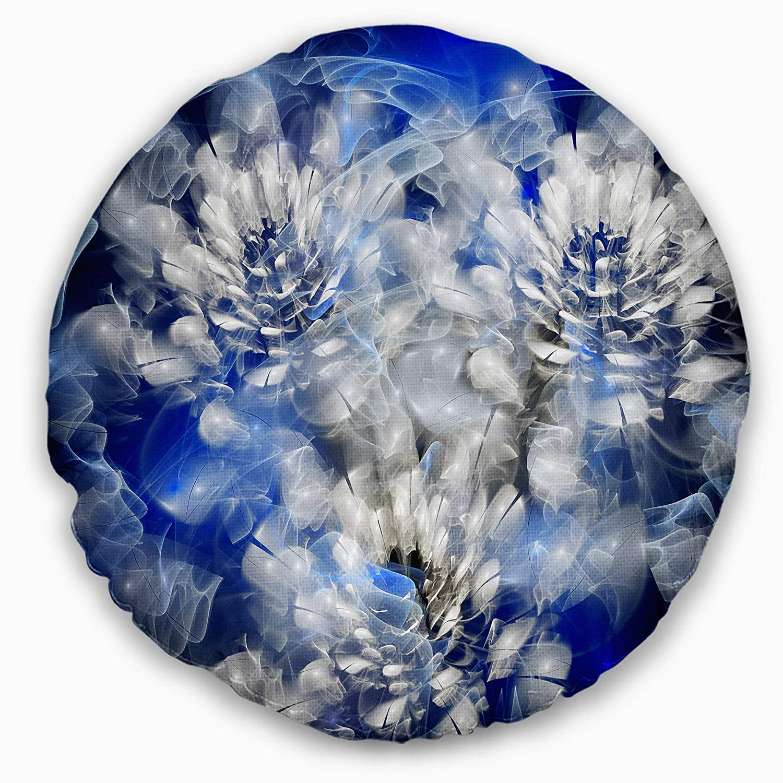 Designart CU14899-20-20-C White Chrysanthemum Fractal Flower Floral Round Cushion Cover for Living Room Sofa Throw Pillow 20