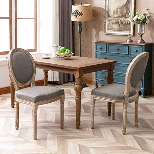 Amazon Com Chairus French Dining Chairs Distressed Elegant Tufted Kitchen Chairs With Carving Wood Legs Round Back Set Of 2 Gray Chairs