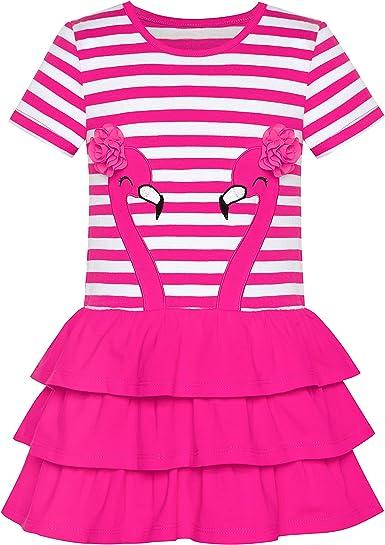 Sunny Fashion Vestido para niña Algodón Manga Corta Casual Bordado Pájaro Flor 2-6 años: Amazon.es: Ropa y accesorios