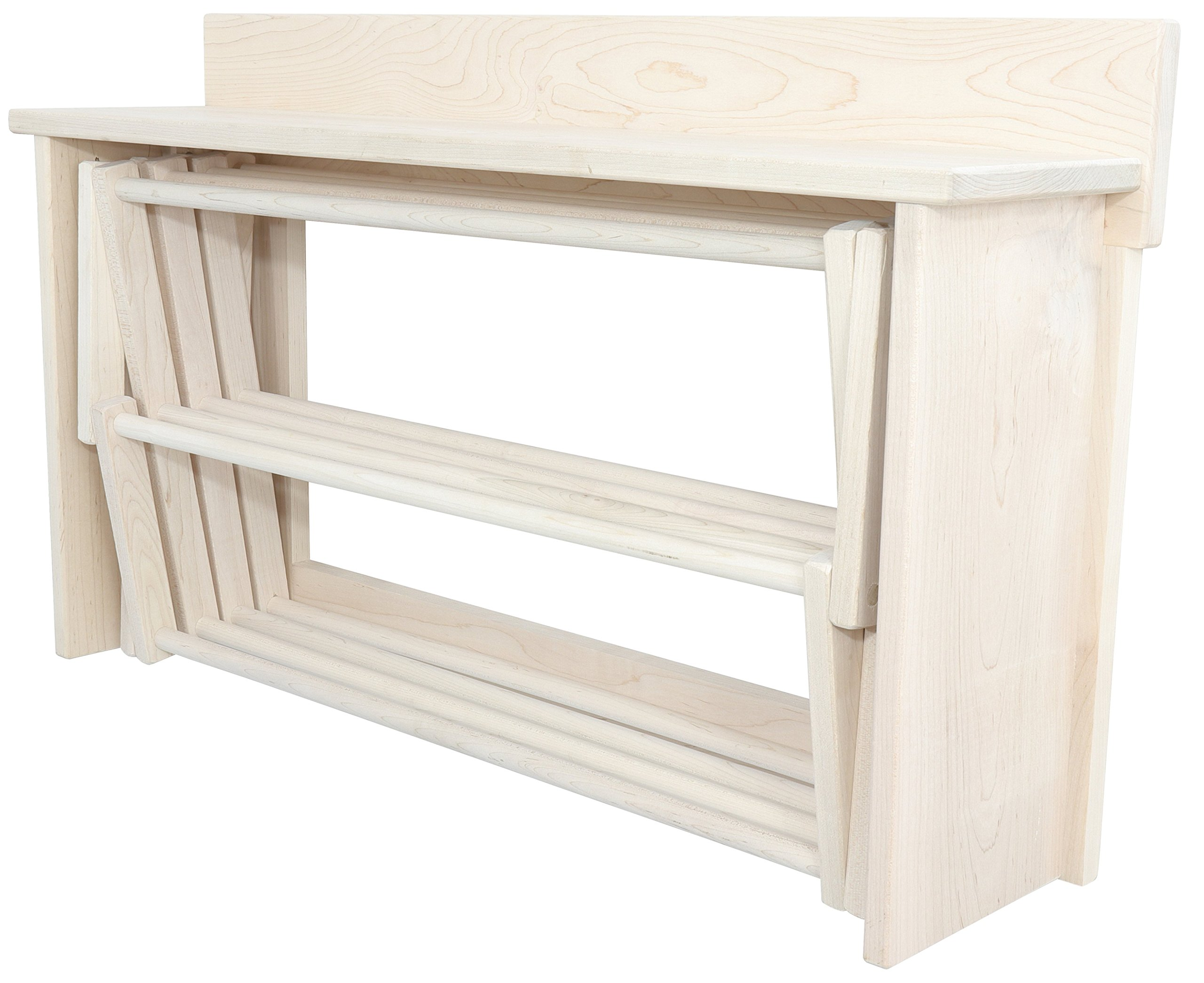 Extra Large Wall Clothes Drying Rack ~ Heavy Duty Solid Maple Hardwood, Folding, Collapses to 35'' x 20'' x 8'', Hand Built in USA, Unfinished, by Pennsylvania Woodworks