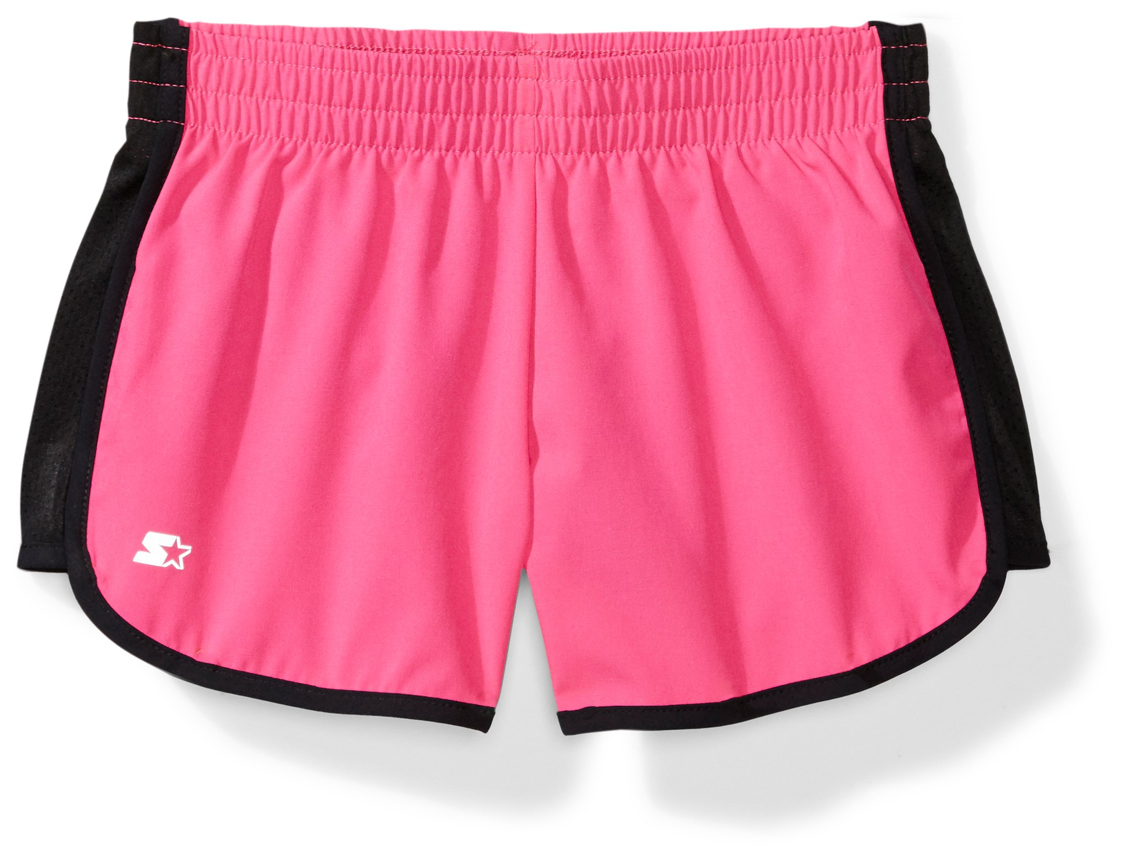 Starter Girls' 3'' Stretch Running Short, Amazon Exclusive, Power Pink with Black, XL (14/16) by Starter