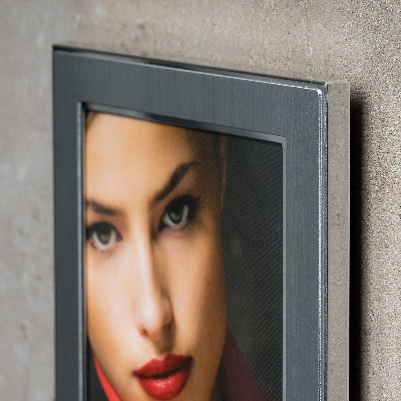 levandeo Bilderrahmen 3 Fotos 10x15cm Collage Alu Aluminium Silber Fotorahmen Glasscheiben Portrait