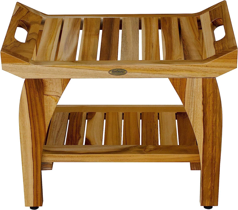 Amazon Com Ecodecors Earthyteak Tranquility 24 Teak Shower Bench With Shelf Home Improvement