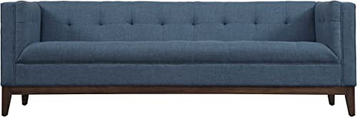 Tov Furniture The Gavin Collection Classic Linen Fabric Upholstered Wood Living Room Sofa Couch, Blue