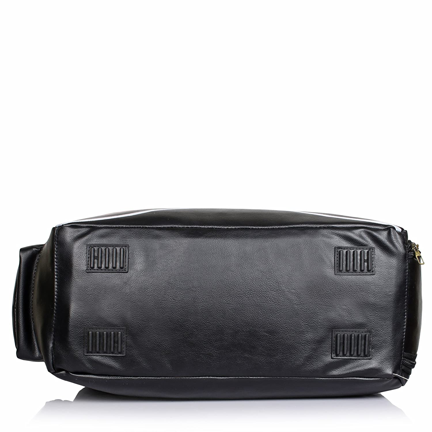 d2a19f9f85b4 Suntop Diablo Faux Leather Duffel Bag for Travel Gym Bag with Shoe  Compartment (Black)  Amazon.in  Bags