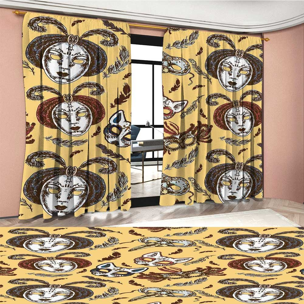Davishouse Masquerade Thermal Insulating Blackout Curtain Venetian Style Paper Mache Face Mask With Feathers Dance Event Theme Patterned Drape For Glass Door Mustard Brown White