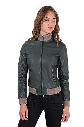 2dc54bc24 G155 • green color • Lamb leather bomber jacket vintage effect - S ...