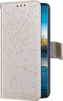 Uposao Compatible con Funda Samsung Galaxy A80/A90 Carcasa Funda Libro de Cuero Estuche Completo,Elegante Flor de Cerezo Relieve Funda Folio Flip Case Cover Wallet pour Galaxy A80/A90,Oro: Amazon.es: Electrónica