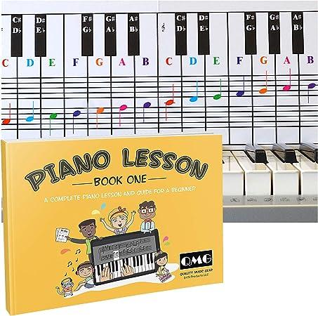 Tabla de notas para piano y teclado y notas a color completa, libro de lecciones de música y guía para niños y principiantes; diseñado e impreso en ...
