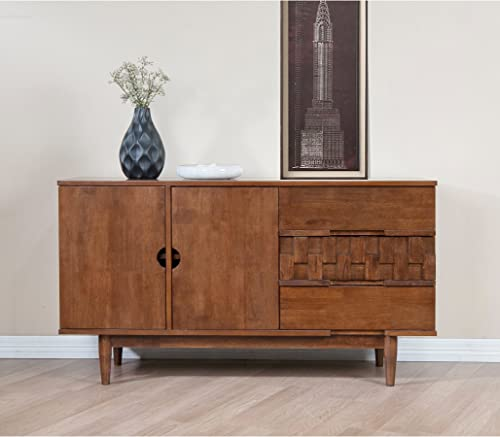Mid Century Modern 55 inch Brown Sideboard Buffet Cabinet