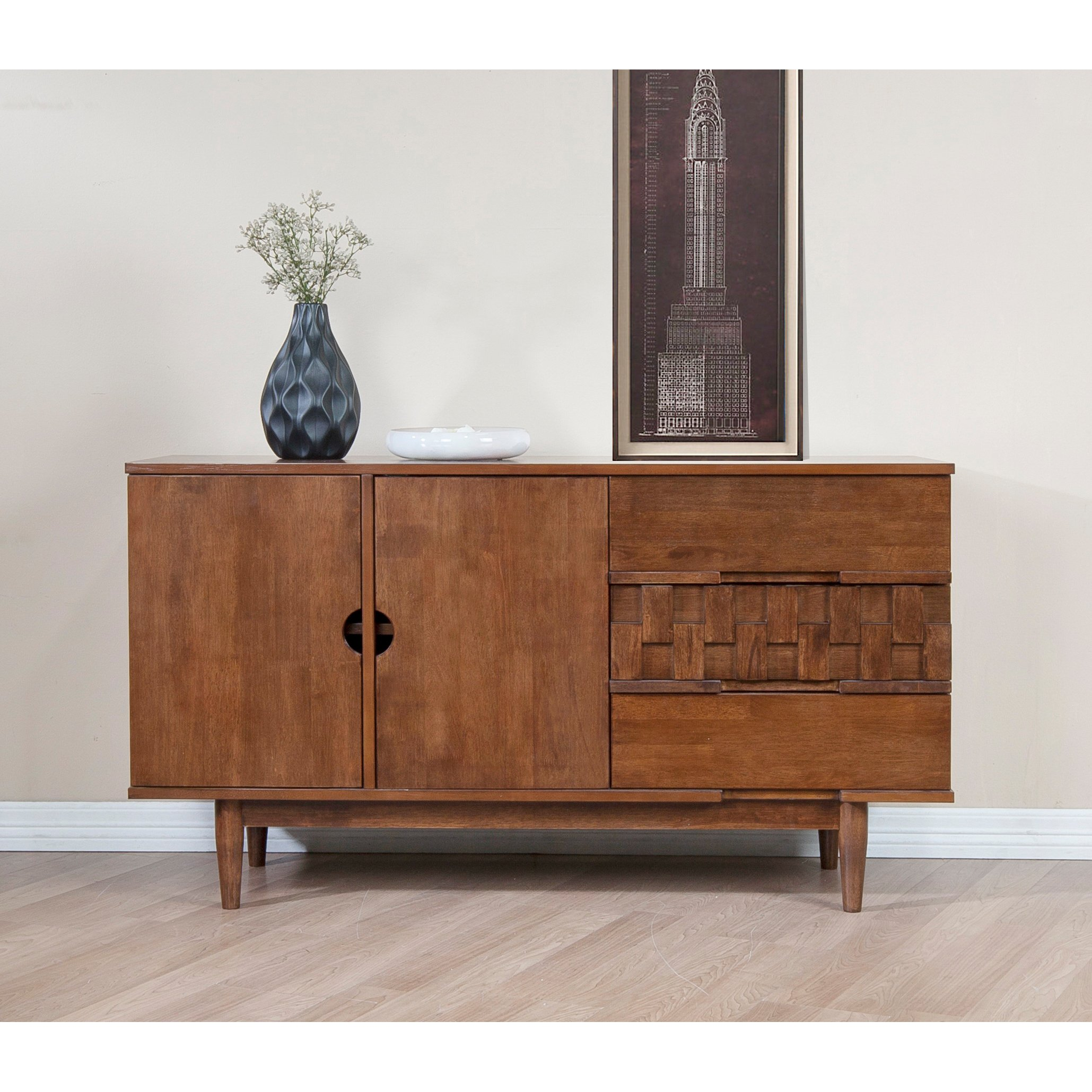 ModHaus Living Mid Century Modern 55 inch Brown Sideboard Buffet Cabinet with 2 Doors 2 Shelves and 3 Drawers - Includes Pen