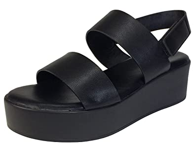 88e5e78f9f60 BAMBOO Women s Double Band Platform Footbed Sandal with Ankle Strap