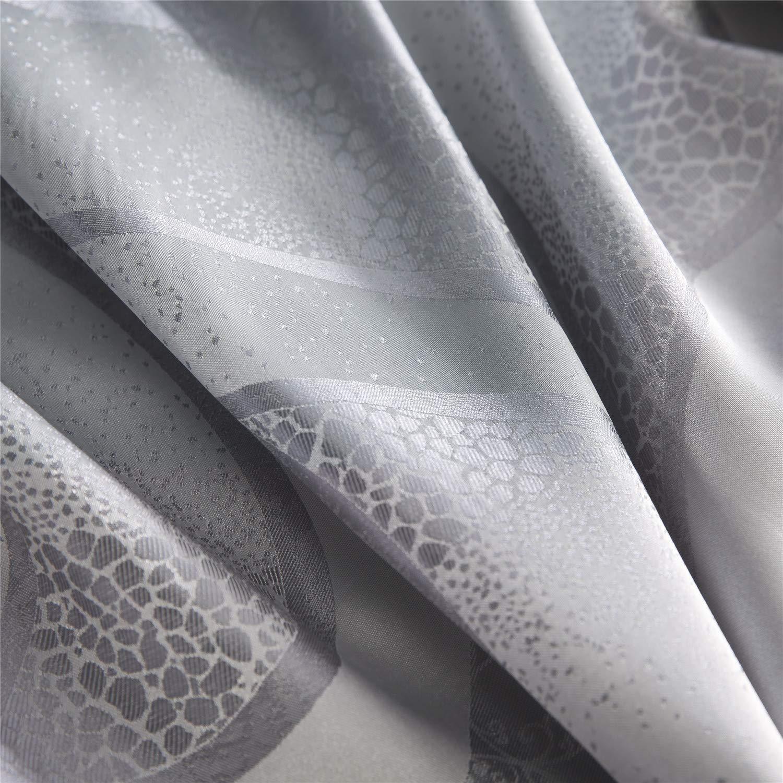 Wiseelife Elegant Duvet Cover Set Jacquard Cotton Rich Silky Woven Deco Vintage Floral Bedding Set Queen,Silver
