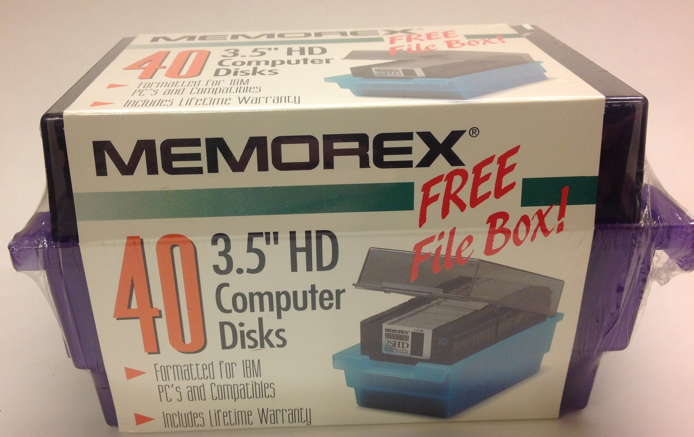 Memorex 3.5 Inch High Density 2SHD Computer Disks Formatted for IBM PCs and Compatibles With File Box (40)