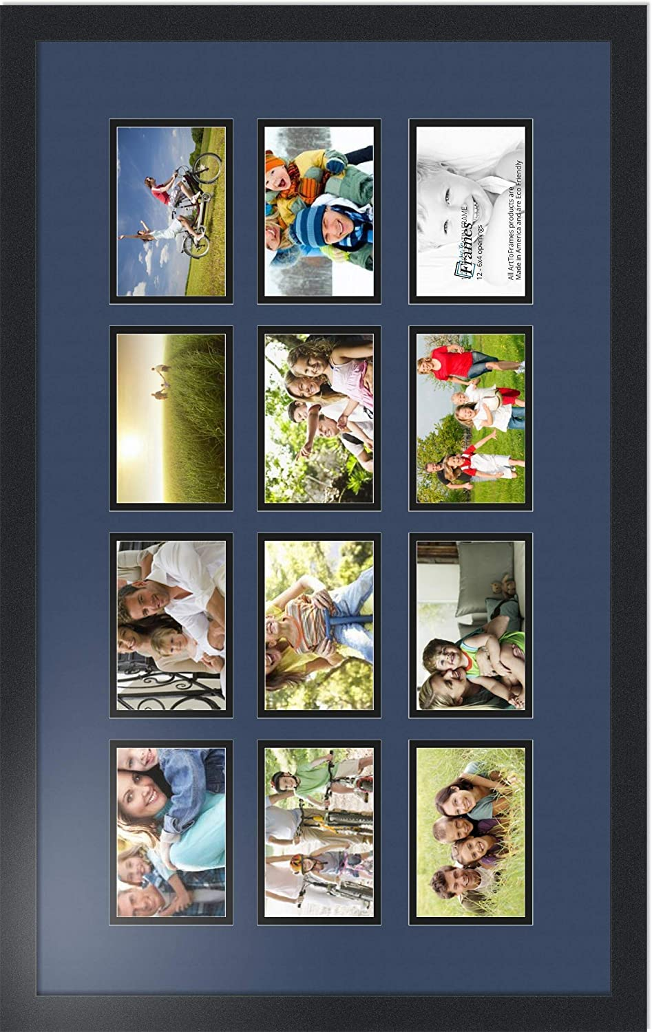 Art to Frames Double-Multimat-466-868//89-FRBW26079 Collage Photo Frame Double Mat with 12-4x6 Openings and Satin Black Frame