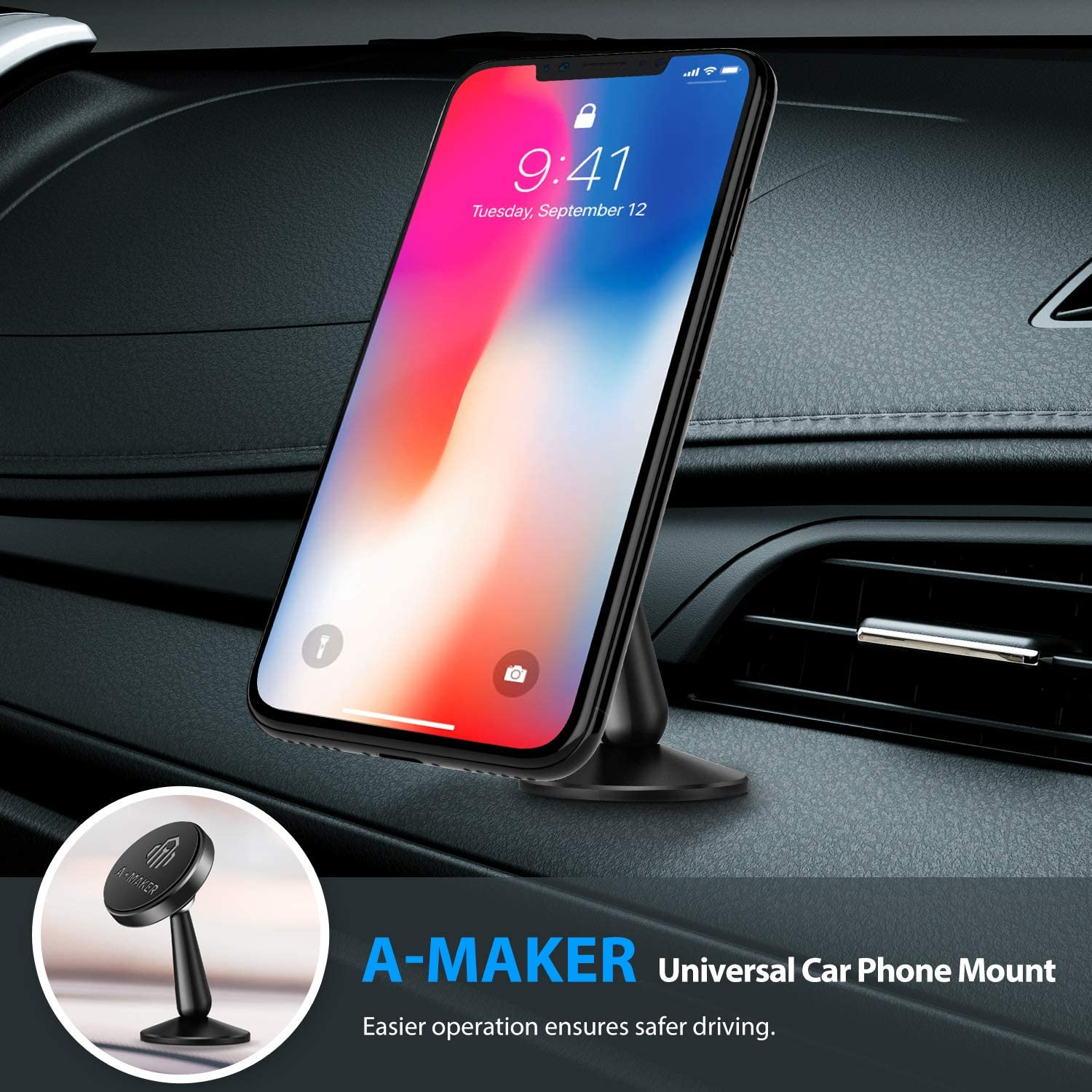 11 Magnetic Phone Car Mount XS Max//XS A-Maker 2 Family Pack 360/°Rotation Car Phone Holder for Dashboard Magnetic Cellphone Holder for Car Compatible with iPhone 11 Pro Max 8//7 Plus and More
