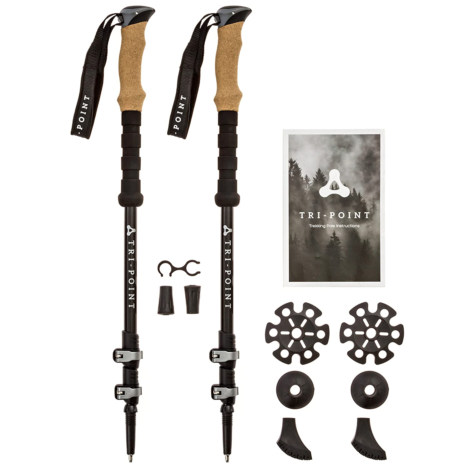 f1311ec4084 TRI-POINT Trekking Poles - 3k Carbon Fiber with Metal Quick Locks   Cork  Grips - Lightweight