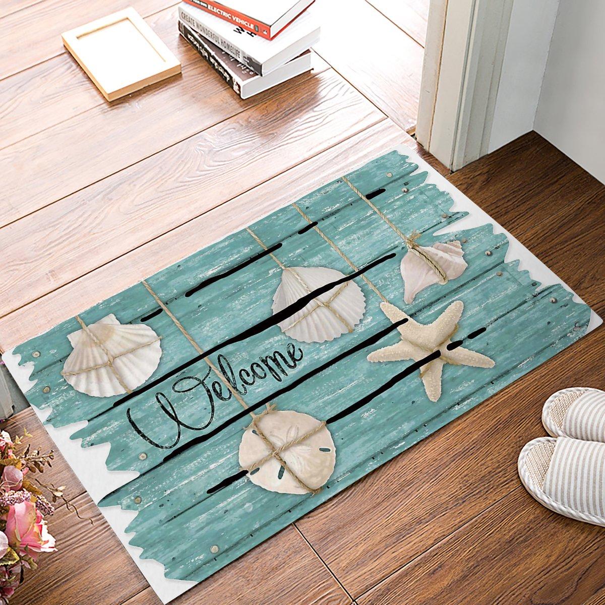 Welcome Doormat, Starfish Shell Teal Rustic Wood Indoor/Outdoor Non-slip Rubber Welcome Mats Floor Rug for Bathroom/Front Entryway