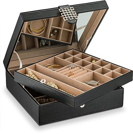Amazoncom Glenor Co 28 Section Jewelry Box 2 Layer Buckle Snap
