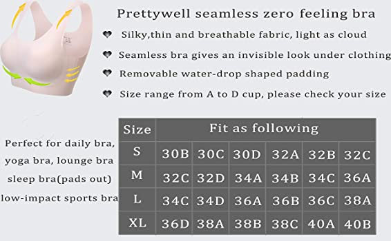 V Neck Soft and Light Basic Bras for Women PRETTYWELL Comfortable Bras Seamless Wire Free Everyday Bras for A to D Cups