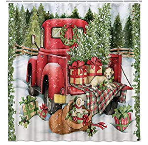 Christmas Shower Curtain, Vintage Red Truck Car Snowflake Xmas Tree Cute Dog Kids Gift Farmhouse Polyester Fabric Waterproof Bath Curtain, Cute Shower Curtains For Bathroom with Hooks, 69 x 70inch