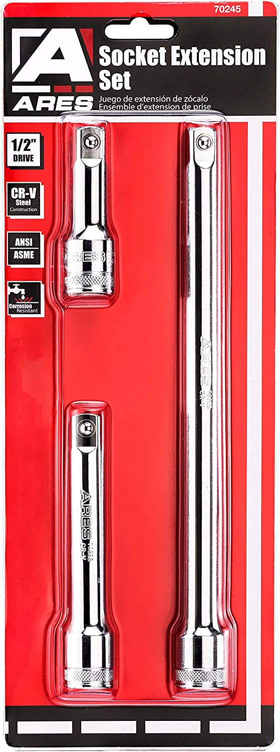 3-Inch Premium Chrome Vanadium Steel with Mirror Finish Includes 1 3//4-Inch ARES 70244-4-Piece 3//8-Inch Drive Socket Extension Set 6-Inch and 8-Inch Extensions