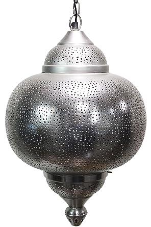 Orientalische Lampe Pendelleuchte Silber Damaris 50cm E27 ...