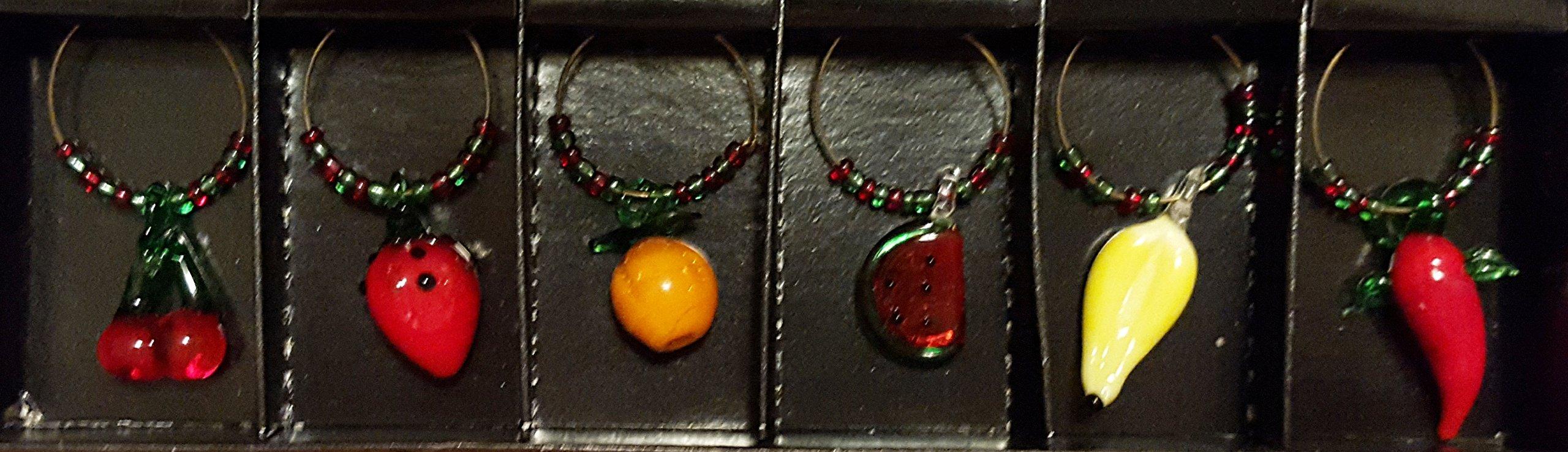 Glass Fruit Wine Charm Set by India Handicraft