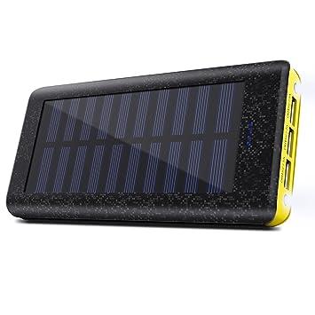 Cargador Solar 24000 mAh Batería Externa, 3 Puertos USB, 2 LED ...
