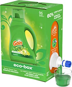Gain Liquid Laundry Detergent eco-Box, Original Scent, HE Compatible, 105 fl oz, 96 Loads