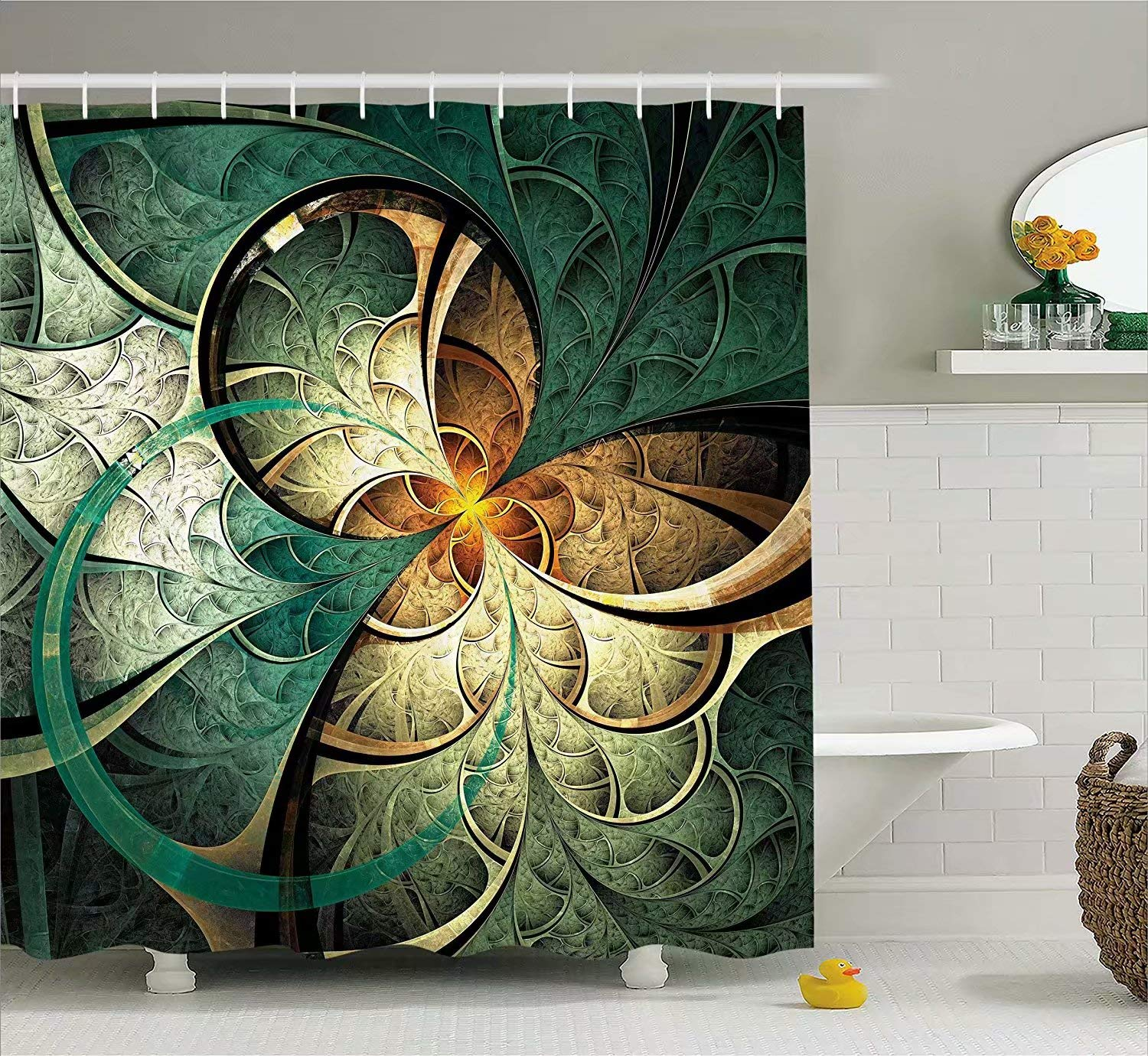 KANATSIU Computer Surreal Flowers Dreamy Imaginary Creative Concept Image Shower Curtain,with 12 plactic hooks,100% Made of Polyester,Mildew Resistant & Machine Washable,Width x Height is 60x72