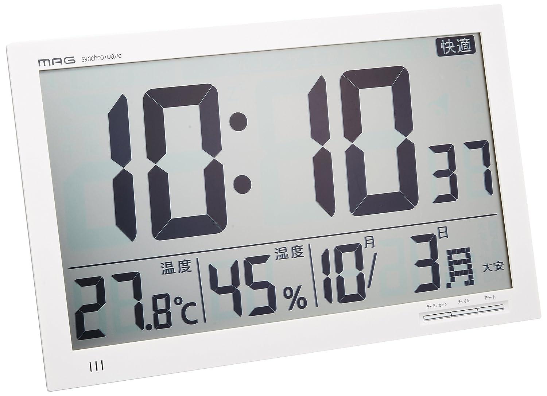 MAG(マグ) デジタル クロック 電波 置掛兼用時計 エアサーチ メルスター W-602 WH ホワイト B00F274N6S