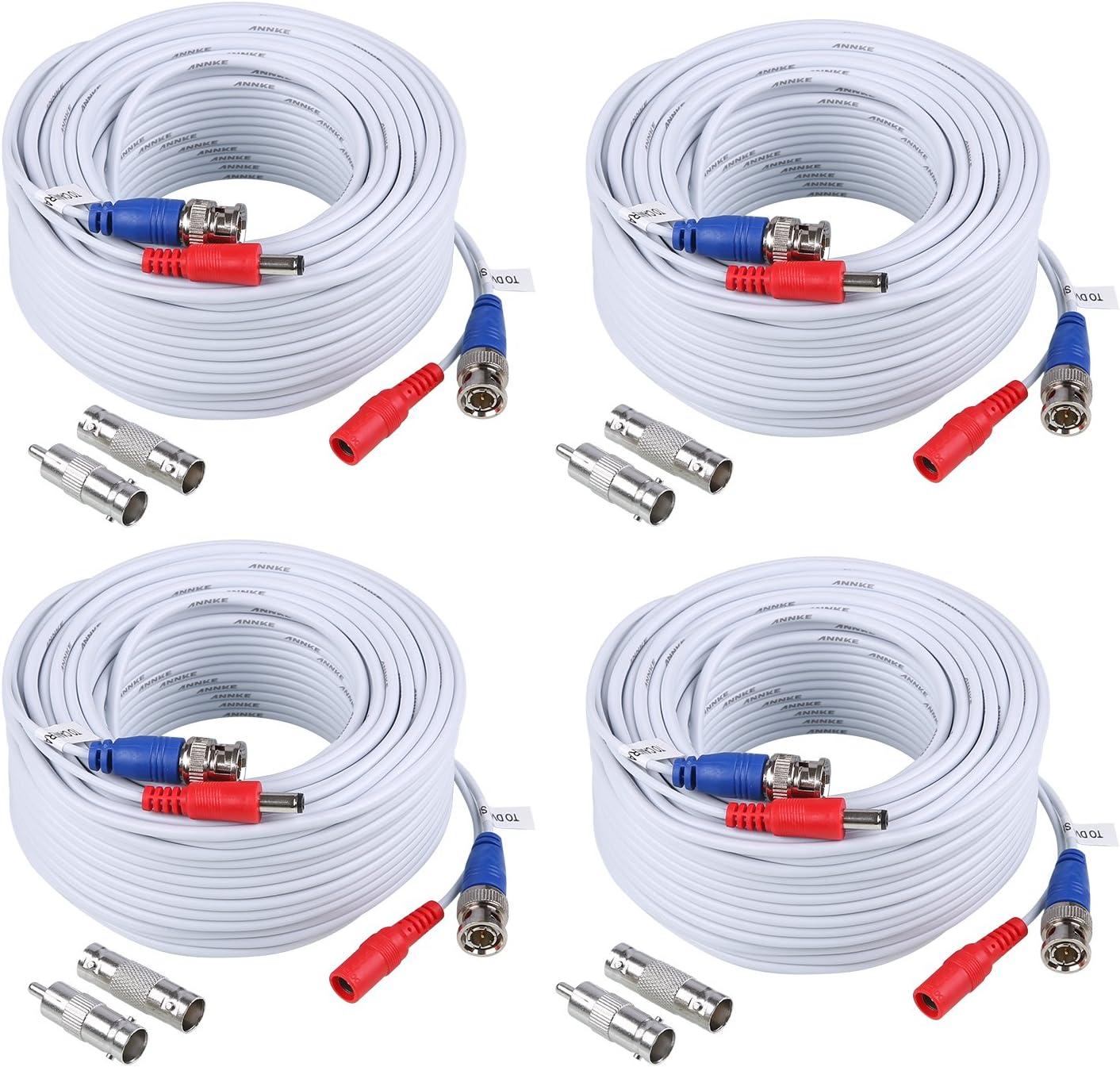 ANNKE 4pcs Cables 30m/100 pies de BNC y de DC Fuente Sistema de seguridad Conector Video (pack of 4)