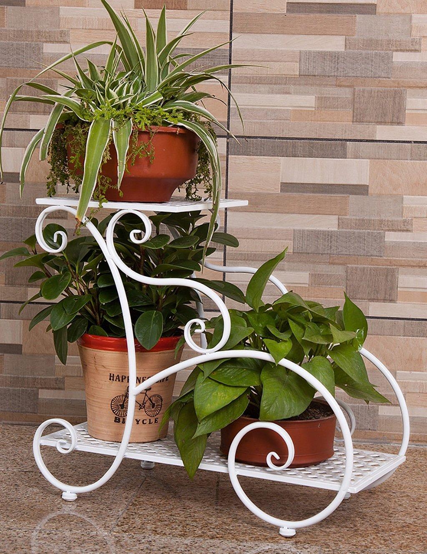 LB huajia ZHANWEI Eisen-Blumen-Rack-European Style Indoor Mehrschichtige Blumentopf Blumenständer Wohnzimmer Balkon Blumenständer (Farbe : B, größe : L*W*H:50.5 * 23 * 44cm)