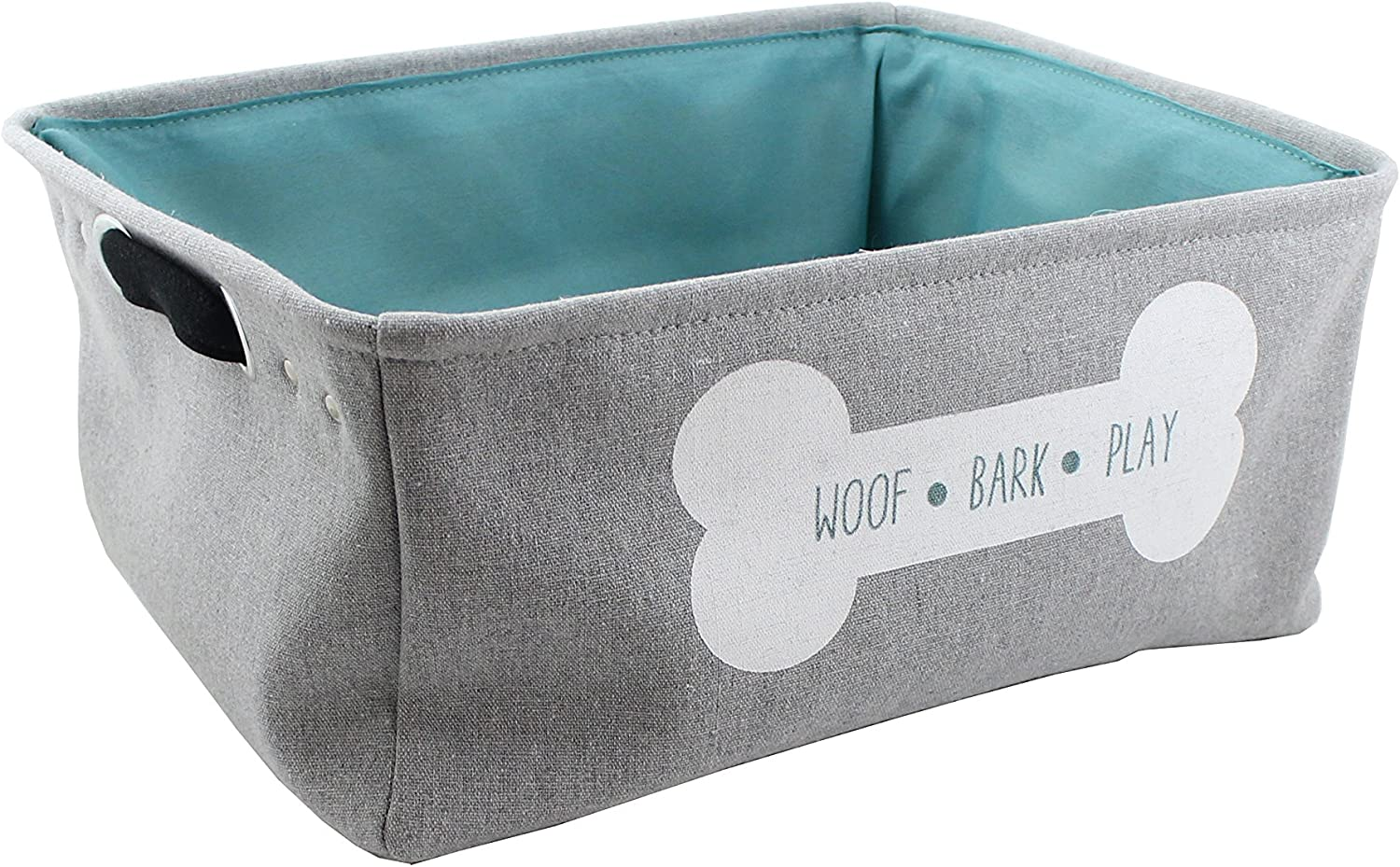"""Winifred & Lily Pet Toy and Accessory Storage Bin, Organizer Storage Basket for Pet Toys, Blankets, Leashes and Food in Embroidered """"Woof Bark Play in Dog Bone, Grey"""