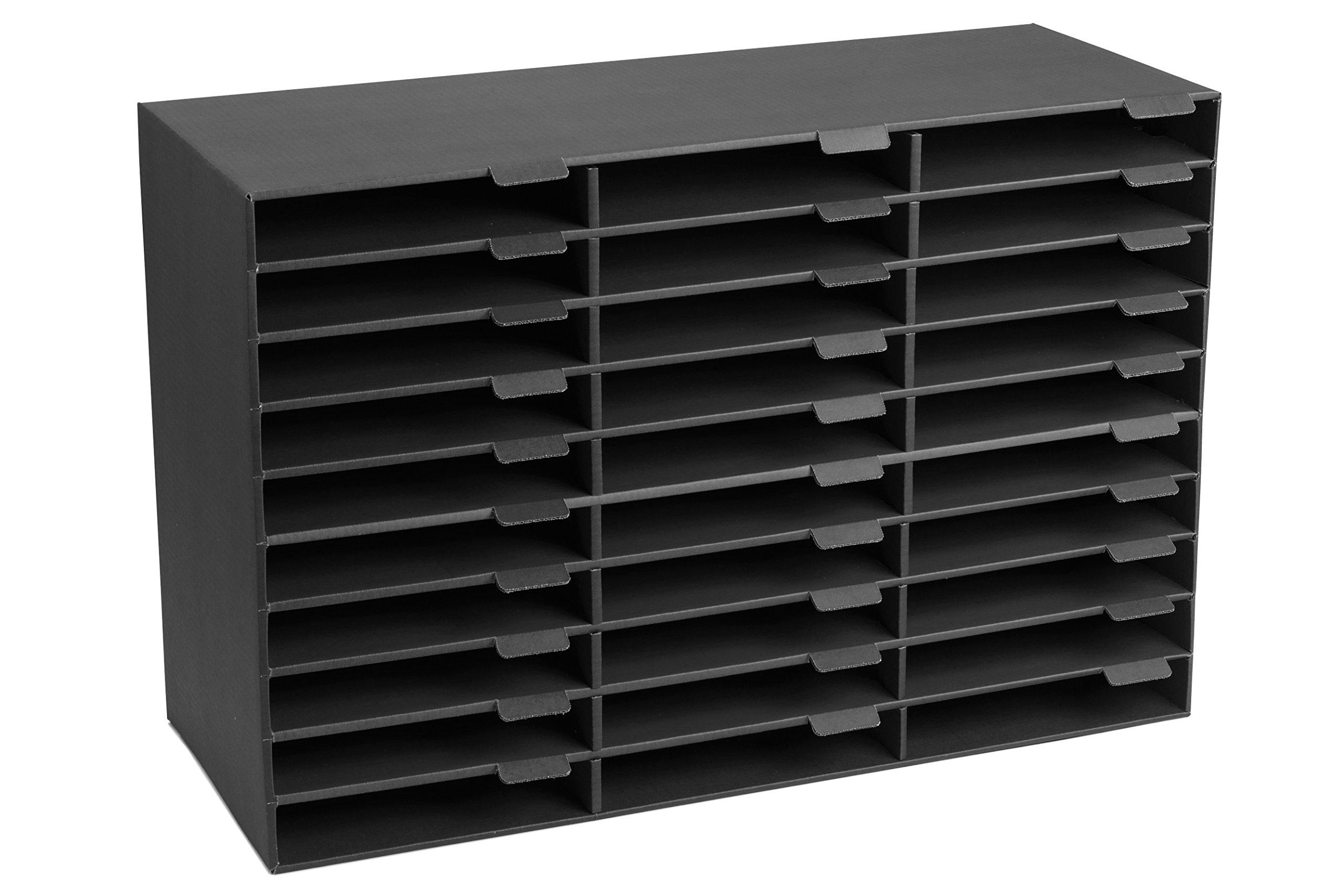 AdirOffice File Organizer Classroom - Office - Home - Corrugated Cardboard (30 Slots, Black) by AdirOffice