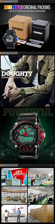Amazon.com: Skmei S-SHOCK Multi Function Military Watch Men Analog Digital Led Display Sport Wristwatch White: Watches
