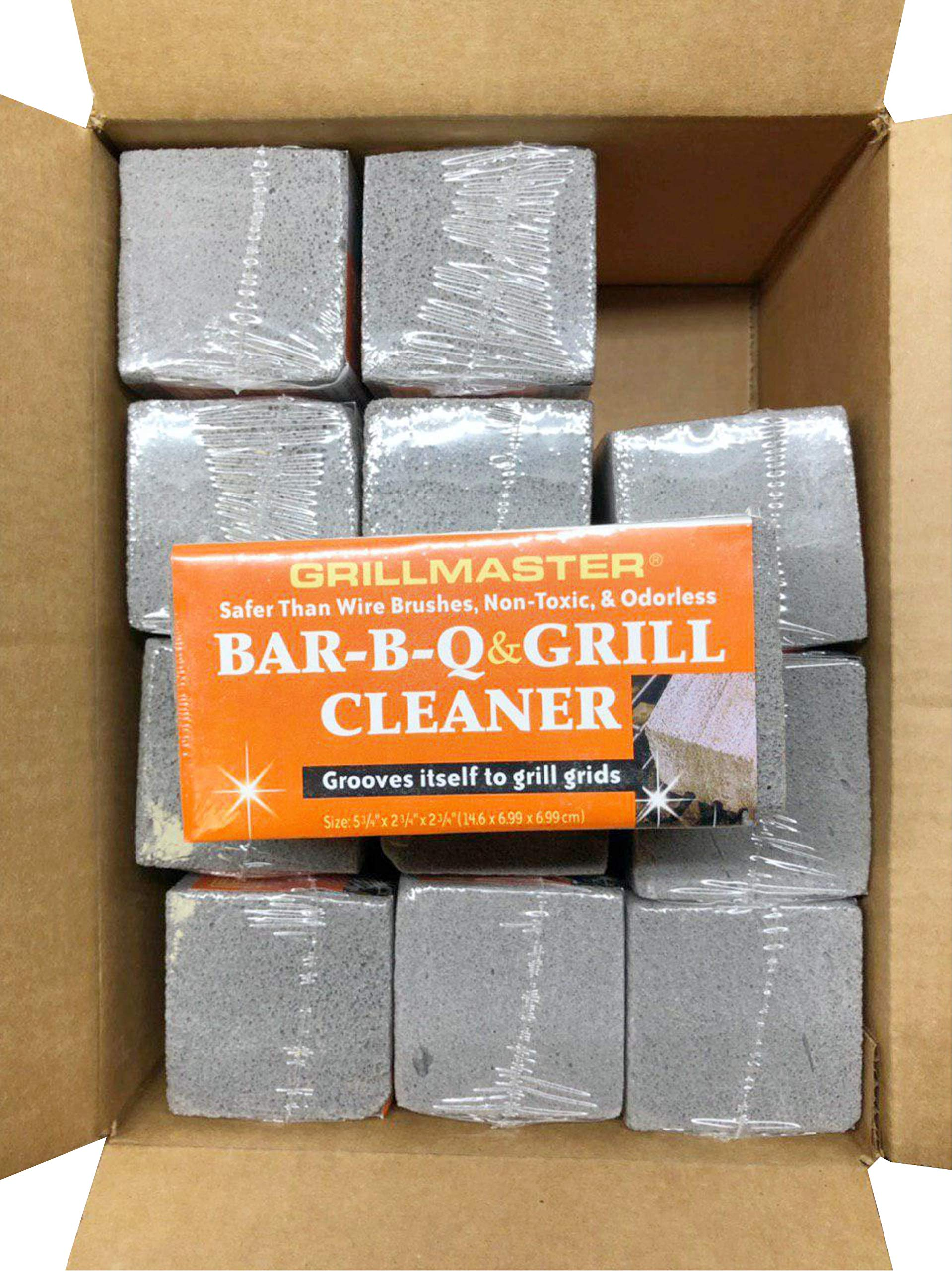 Grillmaster | BQ-12 | BBQ Cleaner Pumice Stone | Case of 12 | GrillBrick for Grill Cleaning | Medium Size | 5.75x2.75x2.75 inches (12) by GRILLMASTER (Image #2)