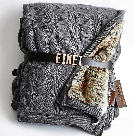 130 * 170cm,Bleu XMZFQ Cable Knitted Throw Blanket with Tassel Couverture en Tricot Super Doux et Chaud pour canap/é-lit d/écoratif Fauteuil-lit