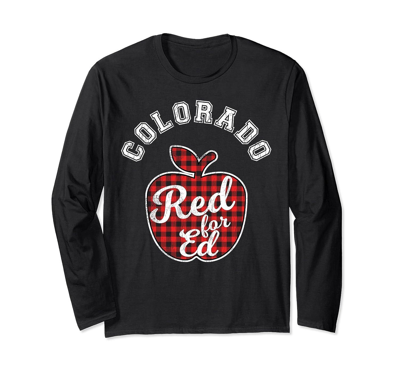 Red For Ed Colorado Teacher Long Sleeve Tee Plaid Apple-alottee gift