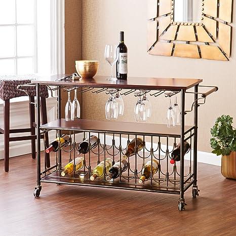 Carrito de bar con soporte de cristal y botella, carrito de cocina de metal, mueble rodante ...