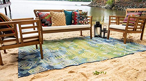 Unique Loom Outdoor Modern Collection Geometric Over-Dyed Transitional Indoor and Outdoor Flatweave Blue Area Rug 5' 3 x 8' 0