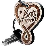 "Schlüsselanhänger aus Holz – Herz Endlosschleife ""Beste Mama"" Gravur"