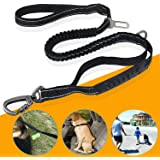 fashion&cool Heavy Duty Dog Leash, 6Ft Reflective Shock Absorbing Bungee Leash Perfect for Medium and Large Dog, Durable 2 Traffic Padded Handles,Car Seat Belt,Greater Control Safety Training,Walking
