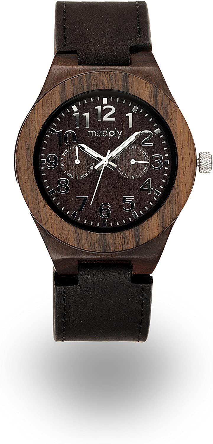 Wood Watch – Customizable Engrave Your Personal Message Durable Leather Band